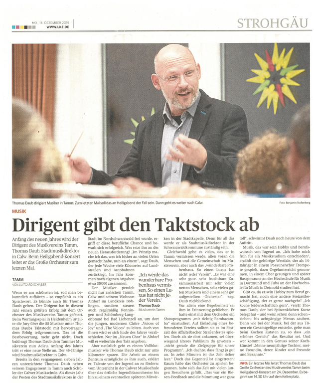 Interview mit Thomas Daub in der LKZ